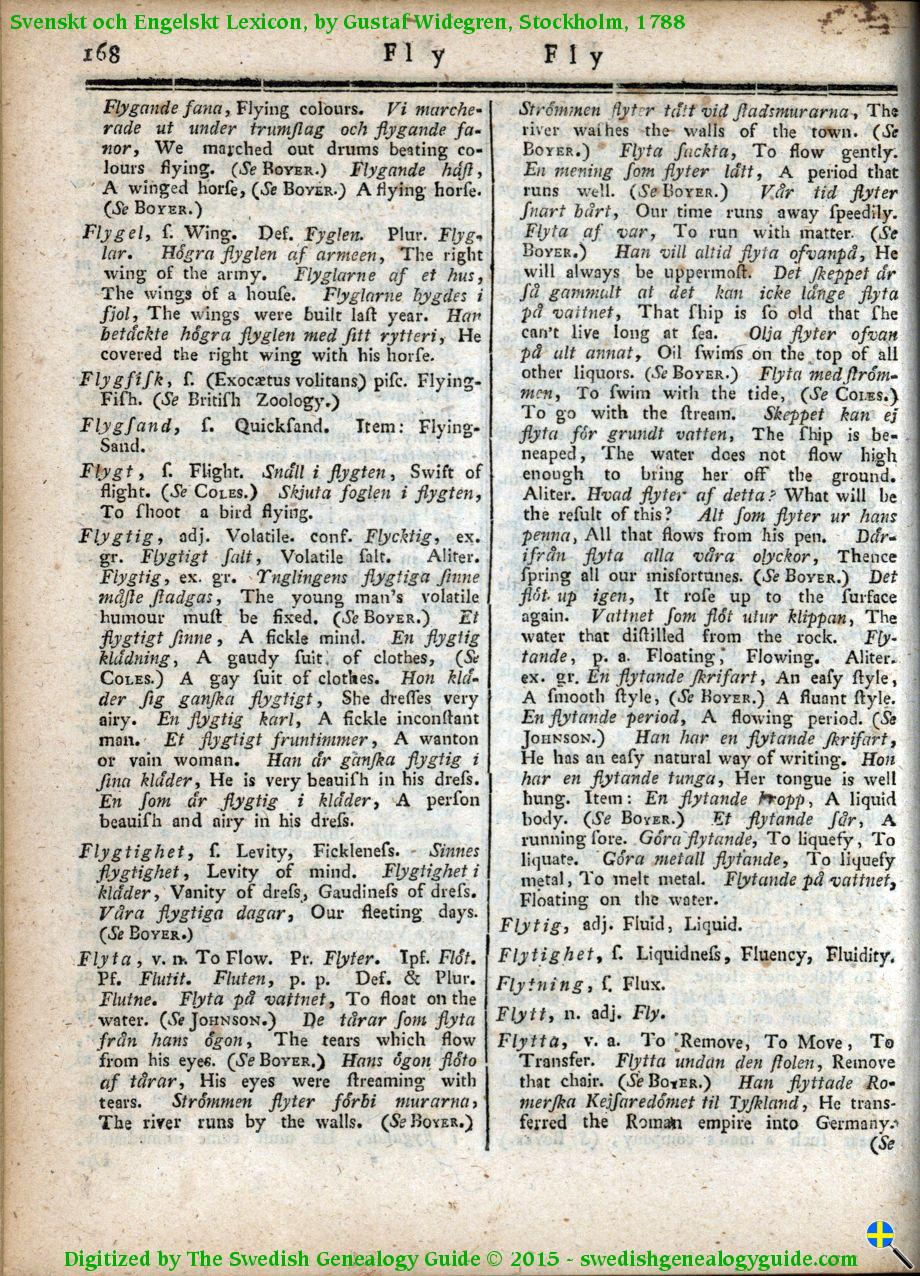 1788 Swedish English Dictionary – Letter F | The Swedish