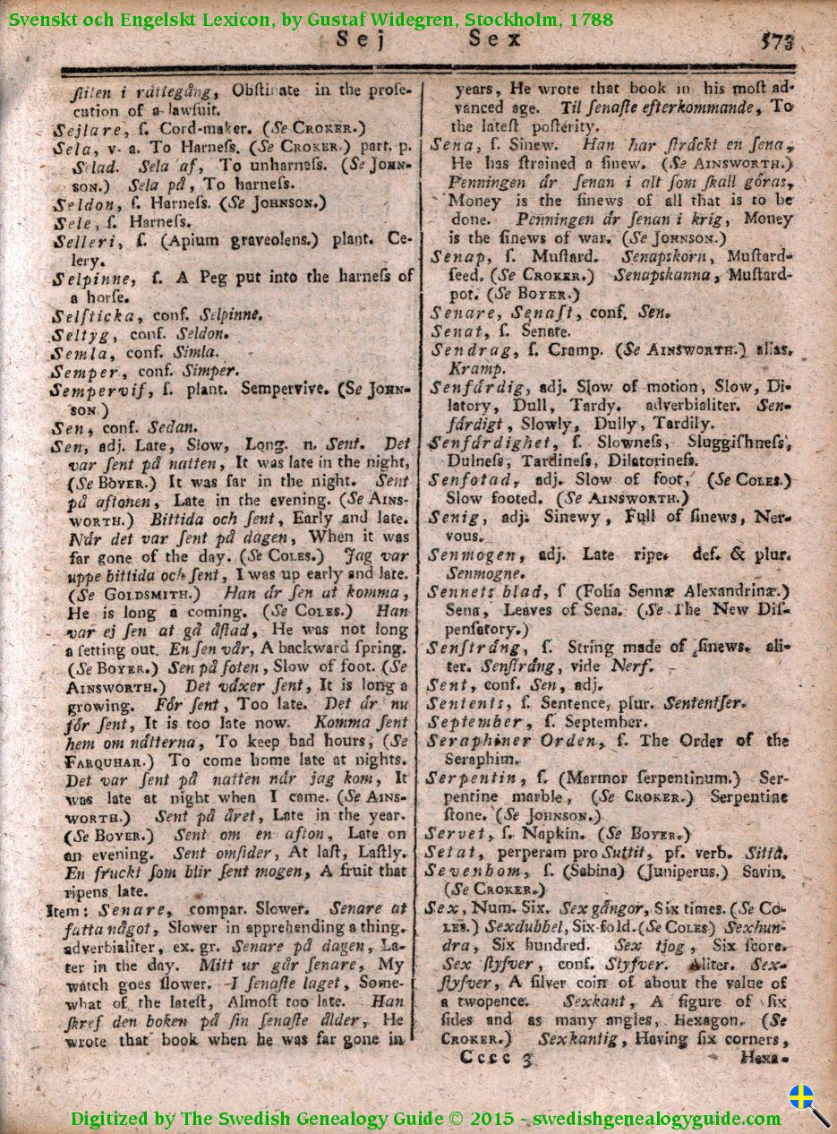1788 Swedish English Dictionary – Letter S | The Swedish
